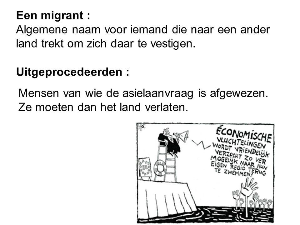 Een migrant : Algemene naam voor iemand die naar een ander land trekt om zich daar te vestigen. Uitgeprocedeerden :