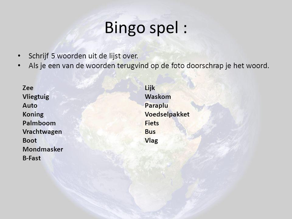 Bingo spel : Schrijf 5 woorden uit de lijst over.