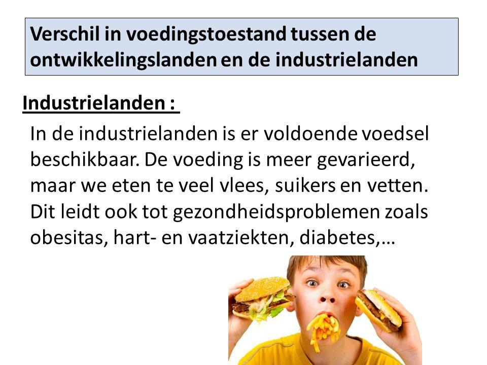Verschil in voedingstoestand tussen de ontwikkelingslanden en de industrielanden