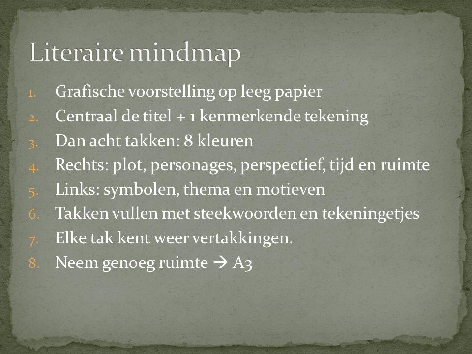 Literaire mindmap Grafische voorstelling op leeg papier