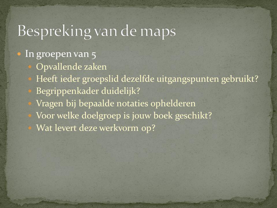 Bespreking van de maps In groepen van 5 Opvallende zaken