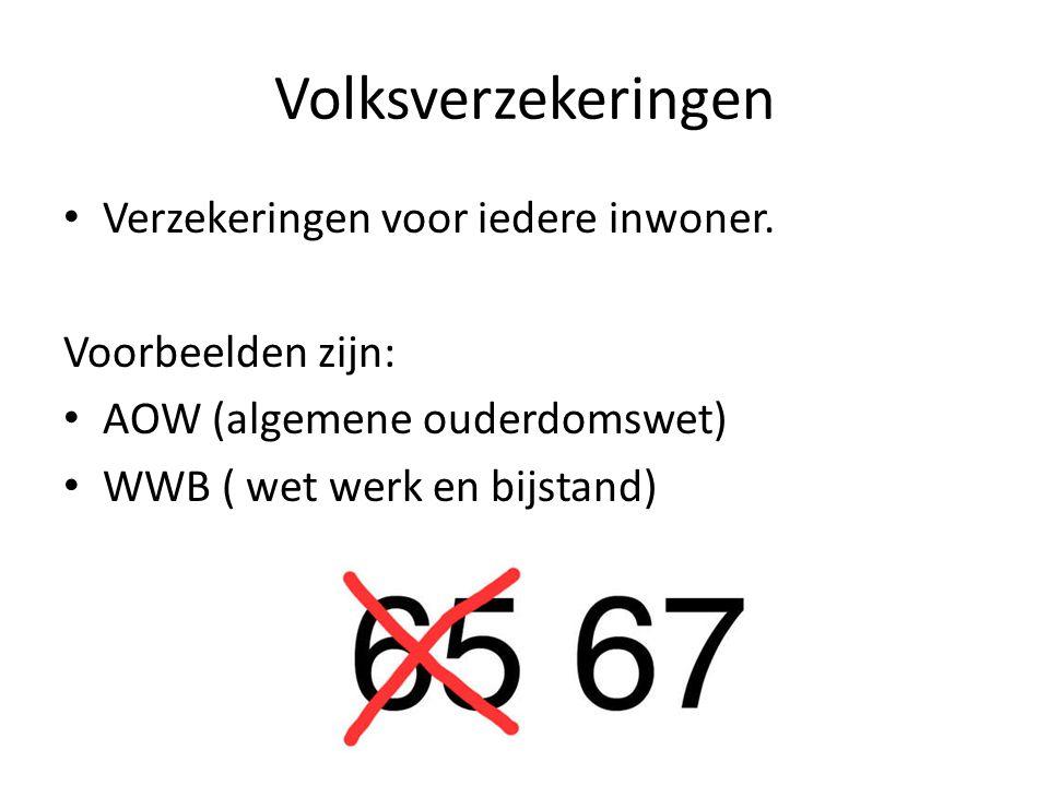 Volksverzekeringen Verzekeringen voor iedere inwoner.