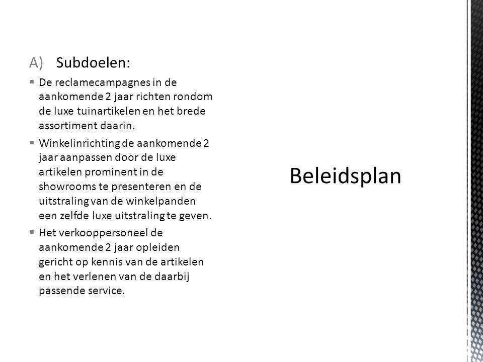 Beleidsplan Subdoelen: