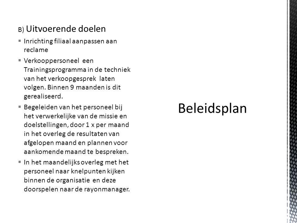 Beleidsplan B) Uitvoerende doelen