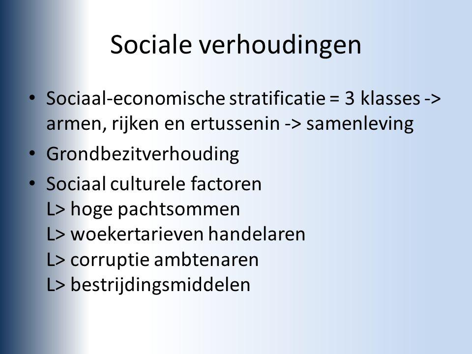 Sociale verhoudingen Sociaal-economische stratificatie = 3 klasses -> armen, rijken en ertussenin -> samenleving.