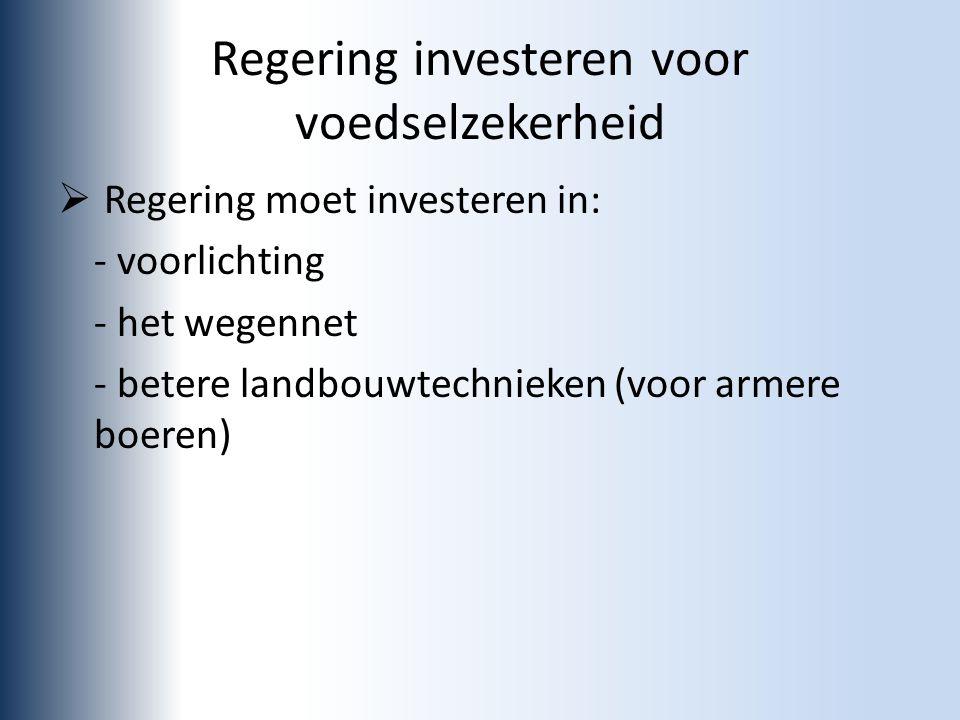 Regering investeren voor voedselzekerheid