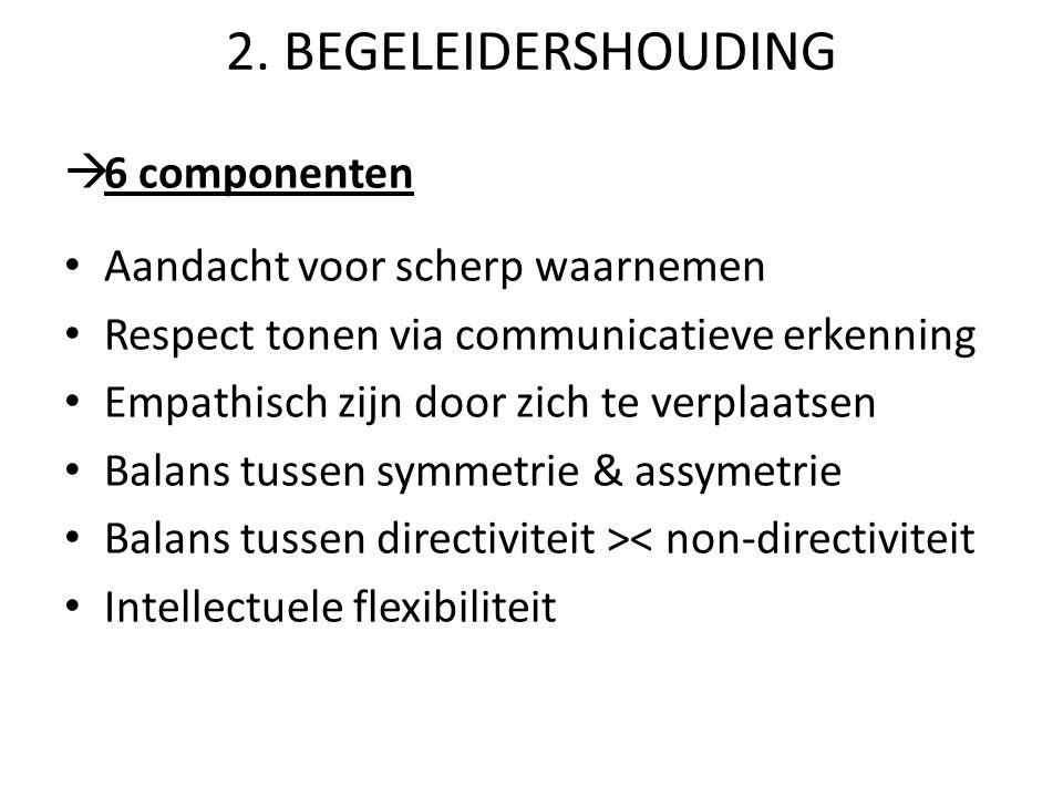 2. BEGELEIDERSHOUDING 6 componenten Aandacht voor scherp waarnemen