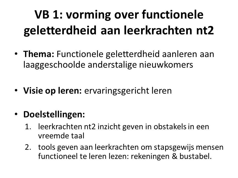 VB 1: vorming over functionele geletterdheid aan leerkrachten nt2