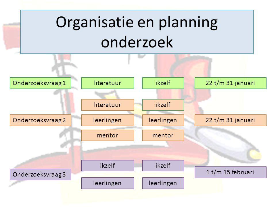 Organisatie en planning onderzoek