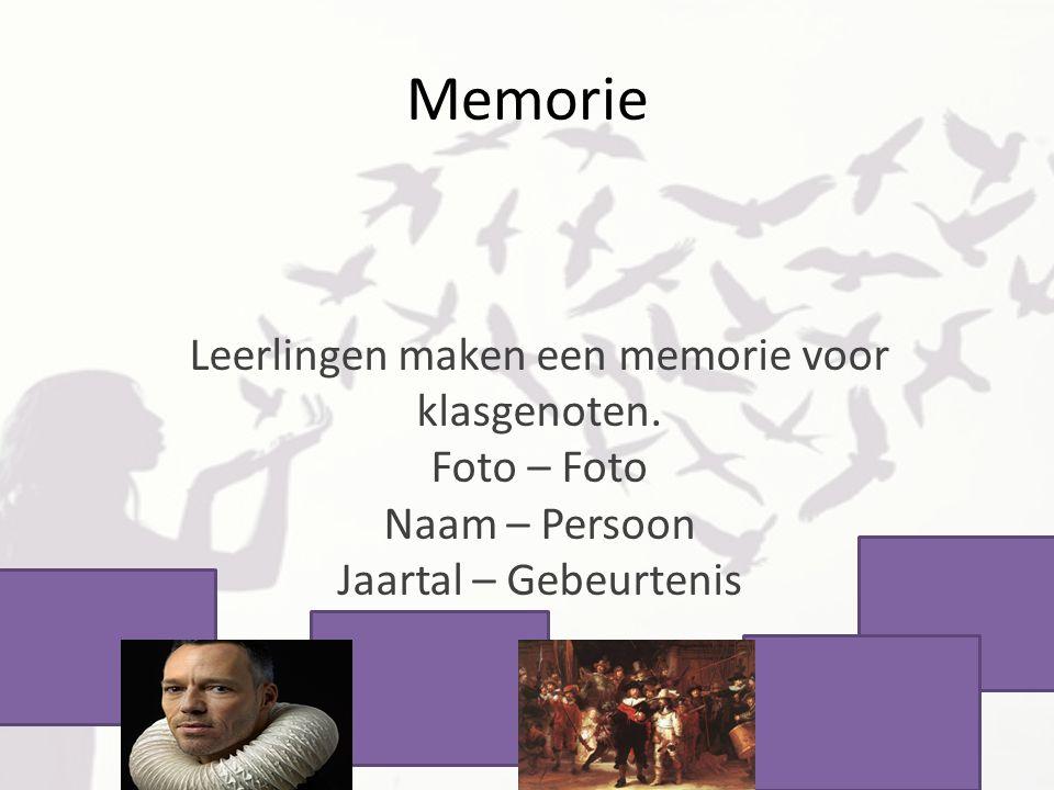 Memorie Leerlingen maken een memorie voor klasgenoten.