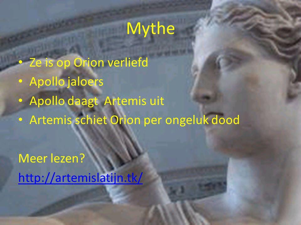 Mythe Ze is op Orion verliefd Apollo jaloers Apollo daagt Artemis uit