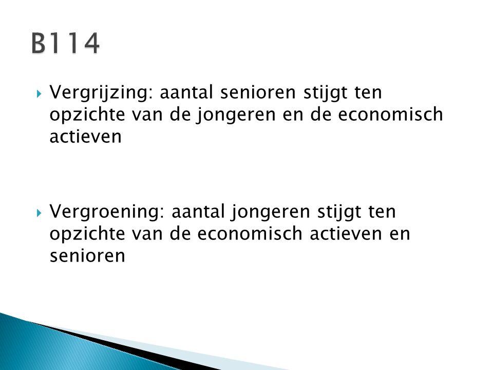 B114 Vergrijzing: aantal senioren stijgt ten opzichte van de jongeren en de economisch actieven.