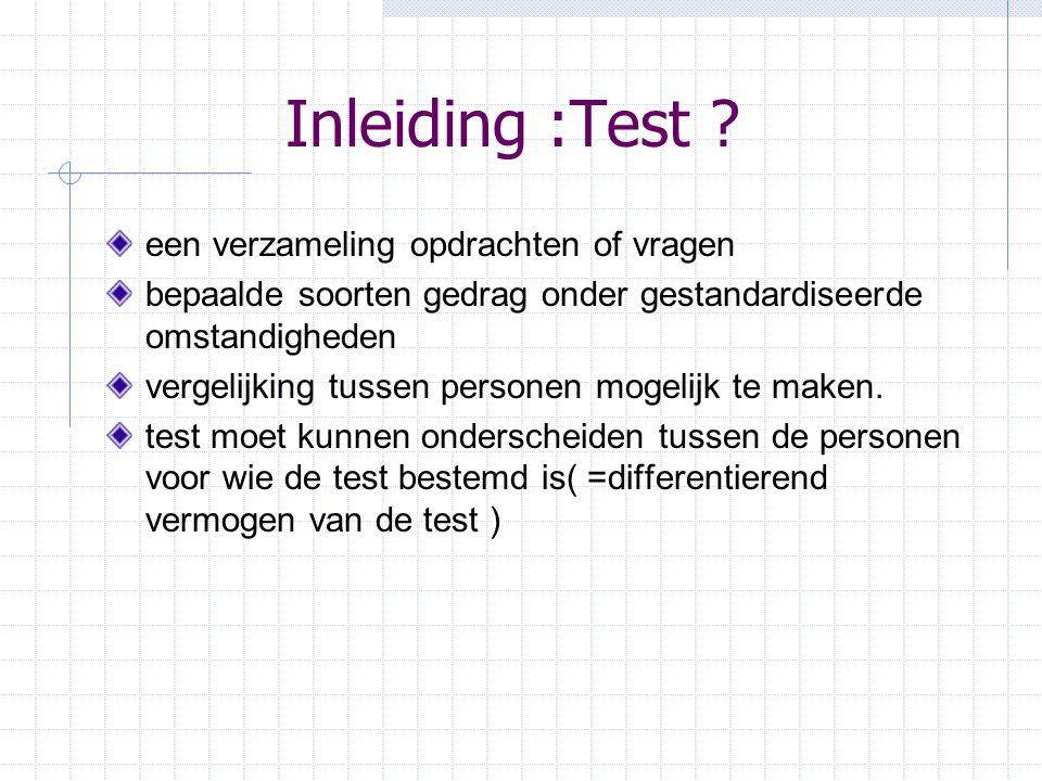 Inleiding :Test een verzameling opdrachten of vragen