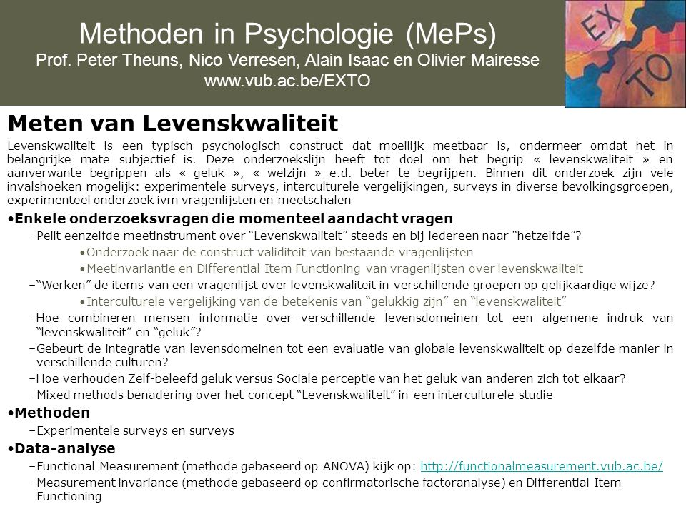 Methoden in Psychologie (MePs) Prof