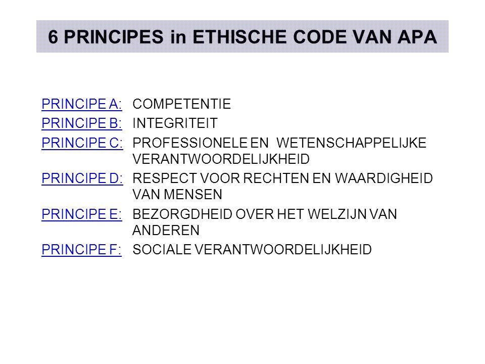 6 PRINCIPES in ETHISCHE CODE VAN APA
