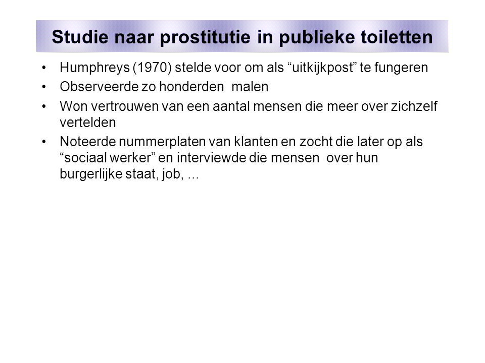 Studie naar prostitutie in publieke toiletten