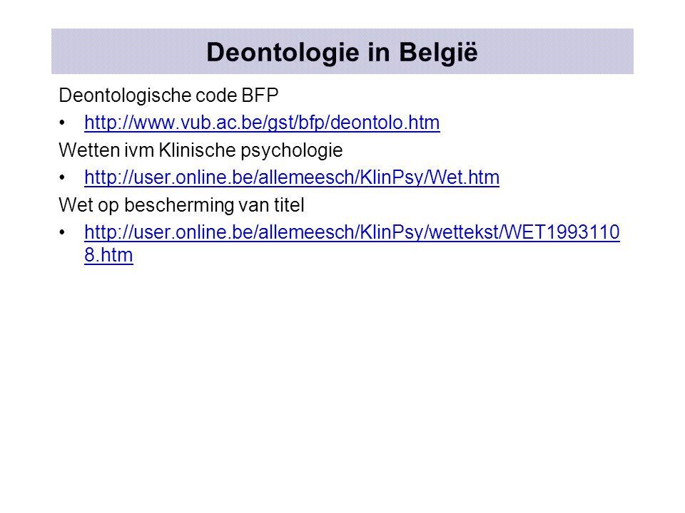 Deontologie in België Deontologische code BFP