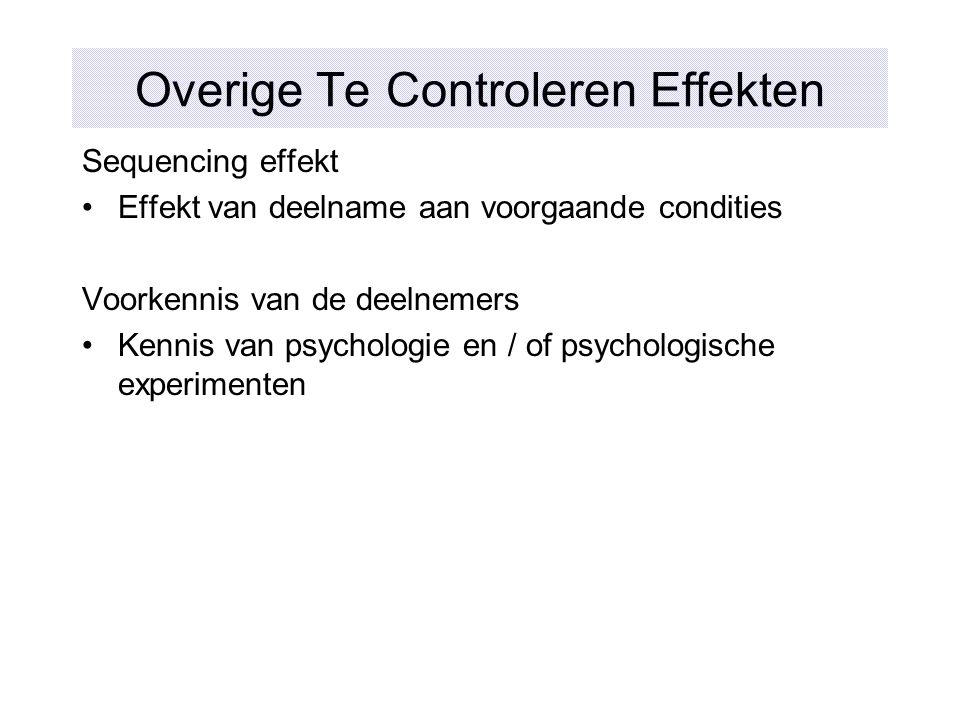 Overige Te Controleren Effekten
