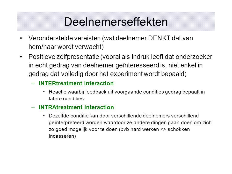 Deelnemerseffekten Veronderstelde vereisten (wat deelnemer DENKT dat van hem/haar wordt verwacht)