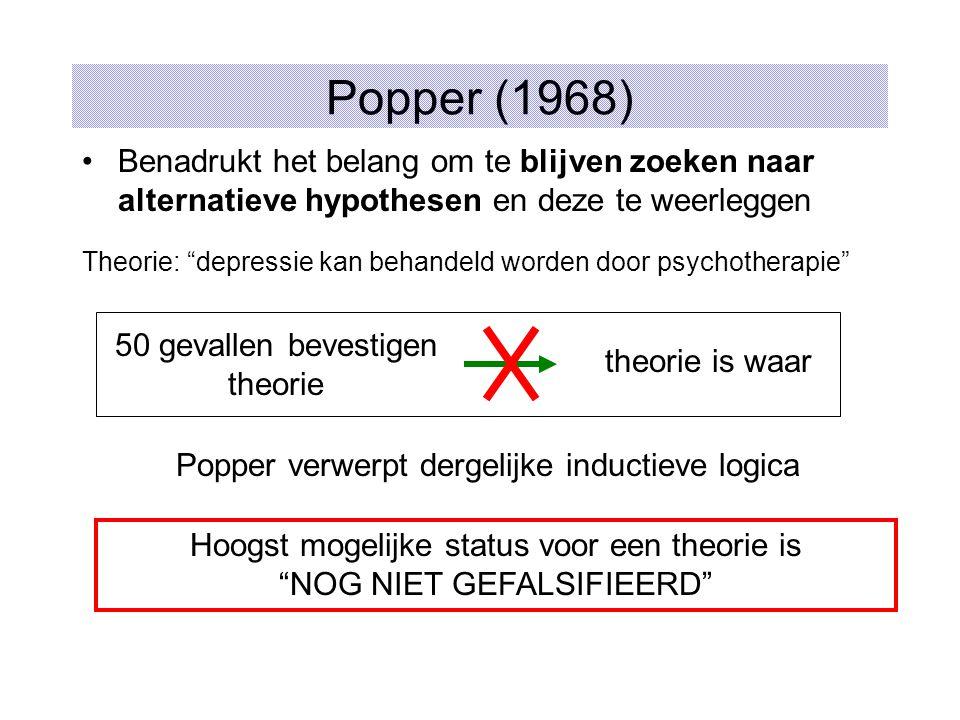 Popper (1968) Benadrukt het belang om te blijven zoeken naar alternatieve hypothesen en deze te weerleggen.
