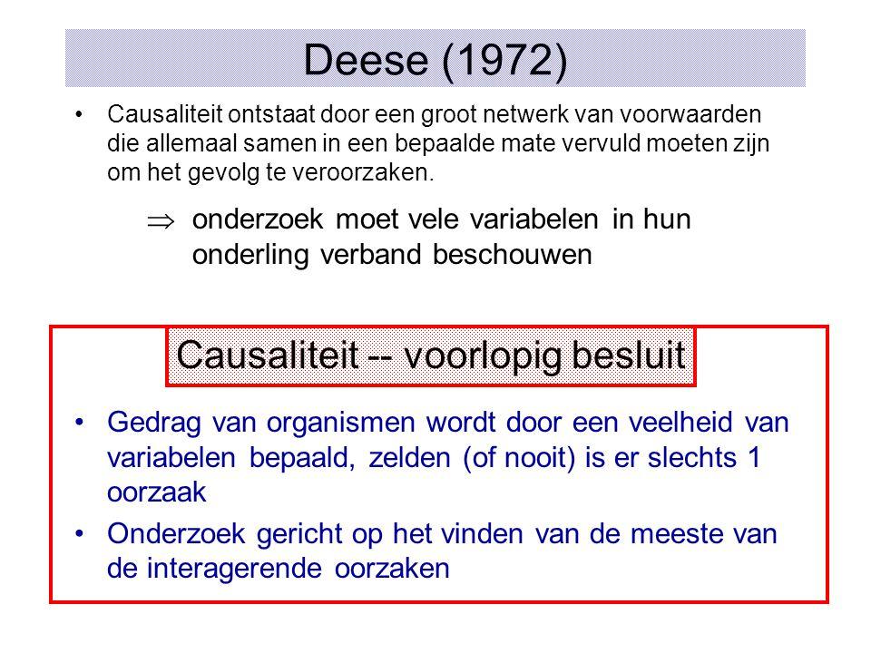 Deese (1972) Causaliteit -- voorlopig besluit