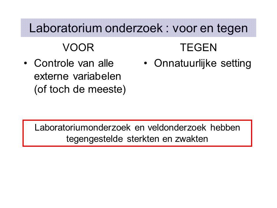 Laboratorium onderzoek : voor en tegen
