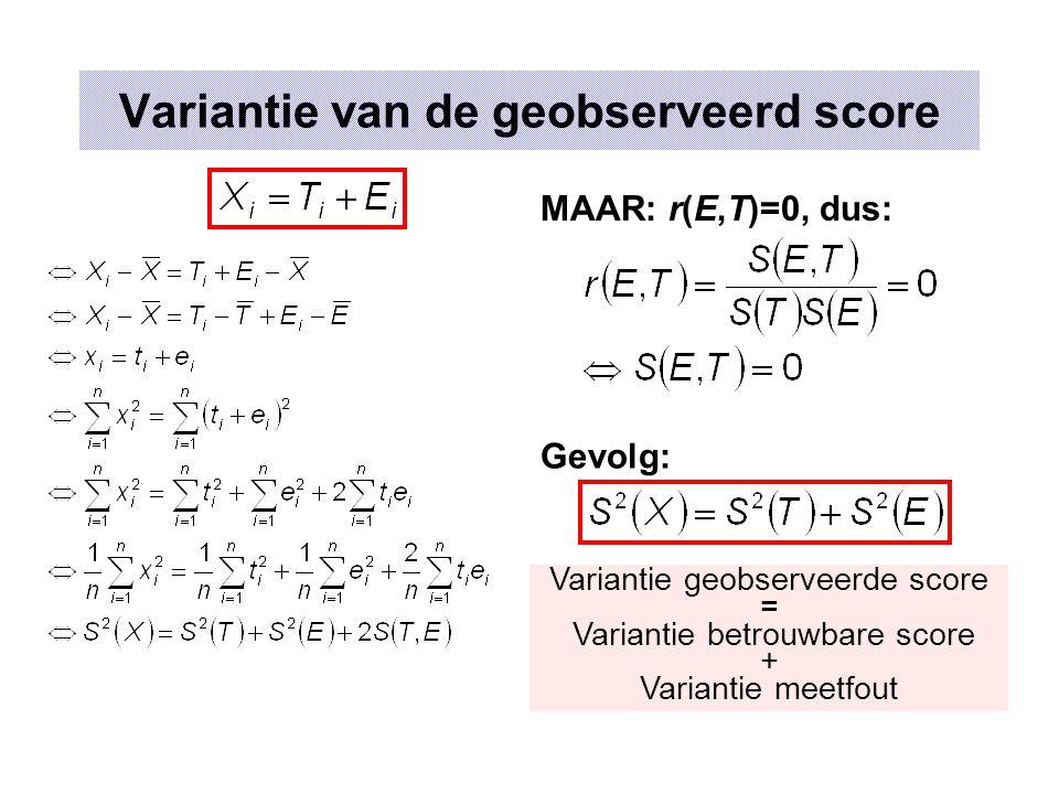 Variantie van de geobserveerd score