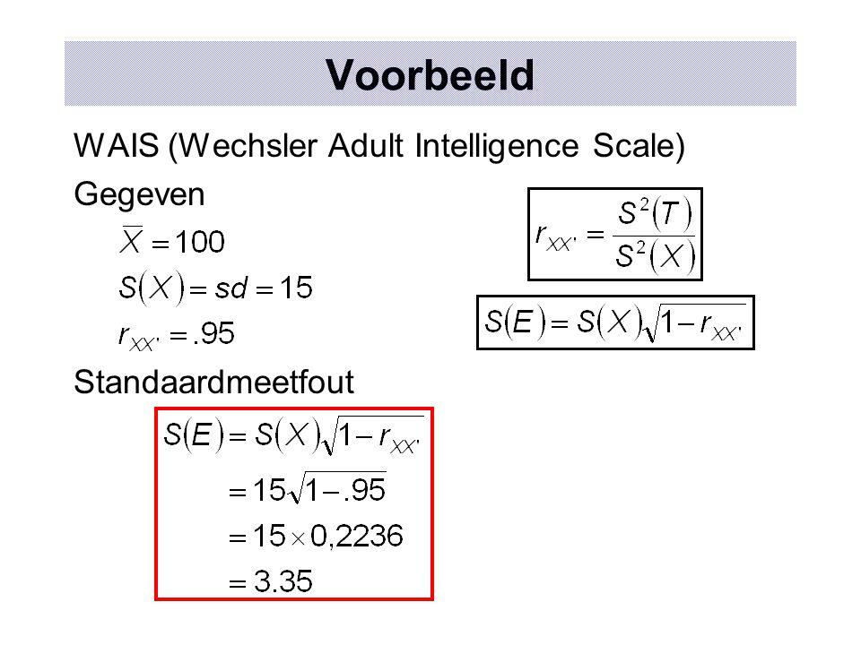 Voorbeeld WAIS (Wechsler Adult Intelligence Scale) Gegeven