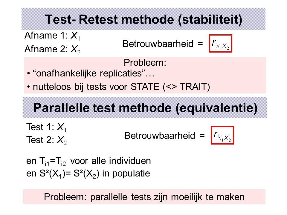 Test- Retest methode (stabiliteit)