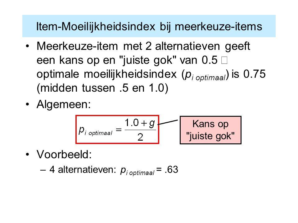 Item-Moeilijkheidsindex bij meerkeuze-items