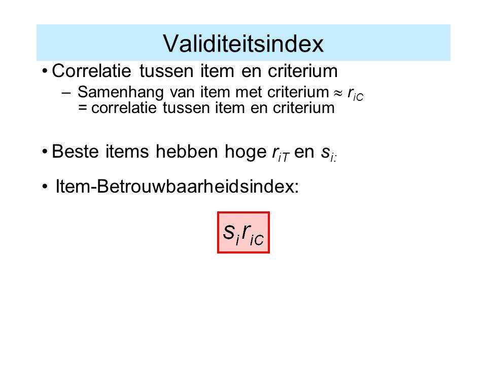 Validiteitsindex Correlatie tussen item en criterium