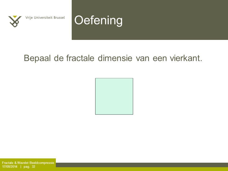 Oefening Bepaal de fractale dimensie van een vierkant.