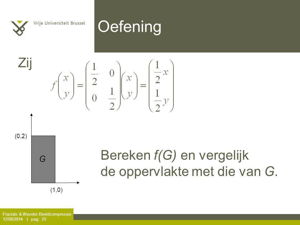 Oefening Zij Bereken f(G) en vergelijk de oppervlakte met die van G. G