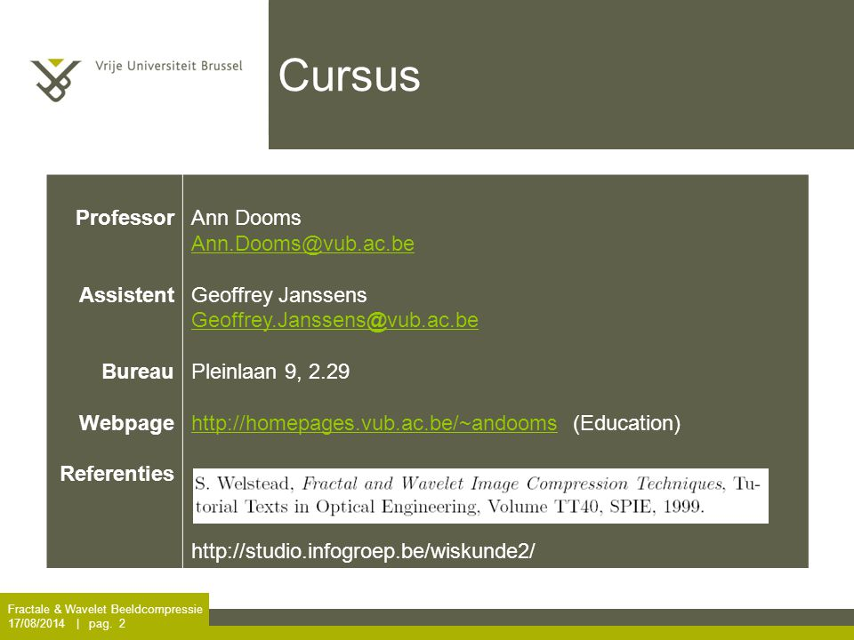 Cursus Professor Assistent Bureau Webpage Referenties Ann Dooms
