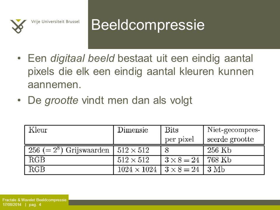 Beeldcompressie Een digitaal beeld bestaat uit een eindig aantal pixels die elk een eindig aantal kleuren kunnen aannemen.
