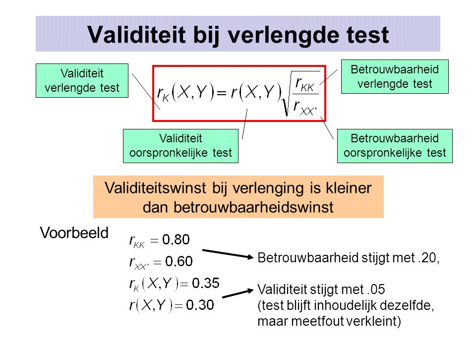 Validiteit bij verlengde test