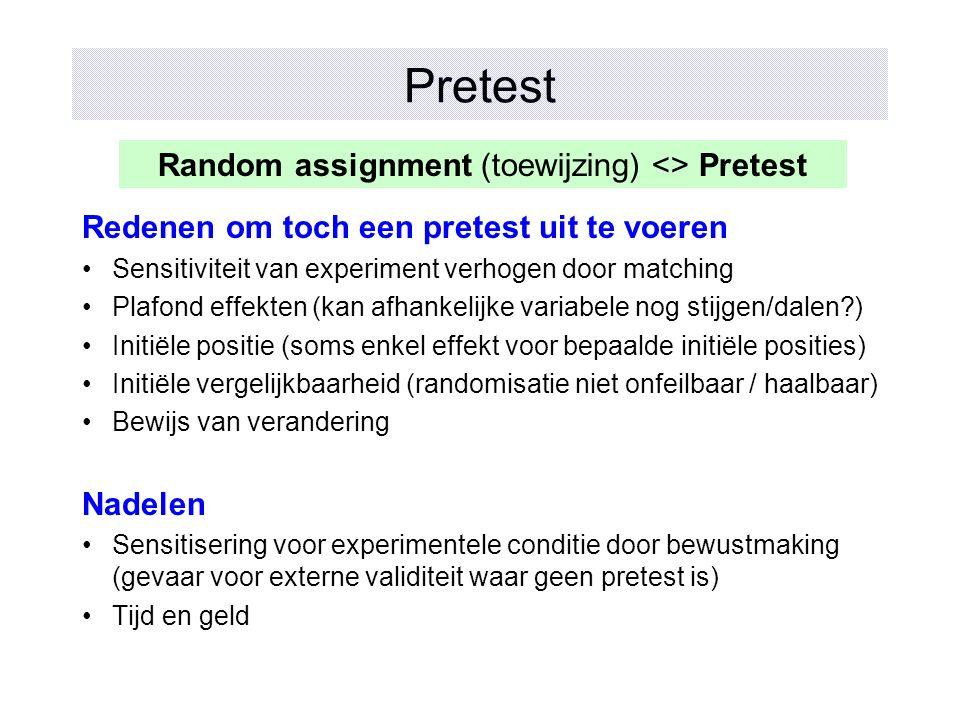 Random assignment (toewijzing) <> Pretest