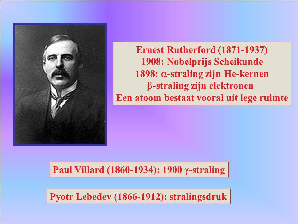 1908: Nobelprijs Scheikunde 1898: a-straling zijn He-kernen
