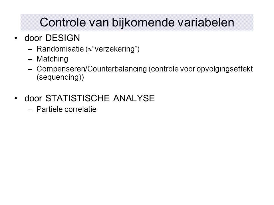 Controle van bijkomende variabelen