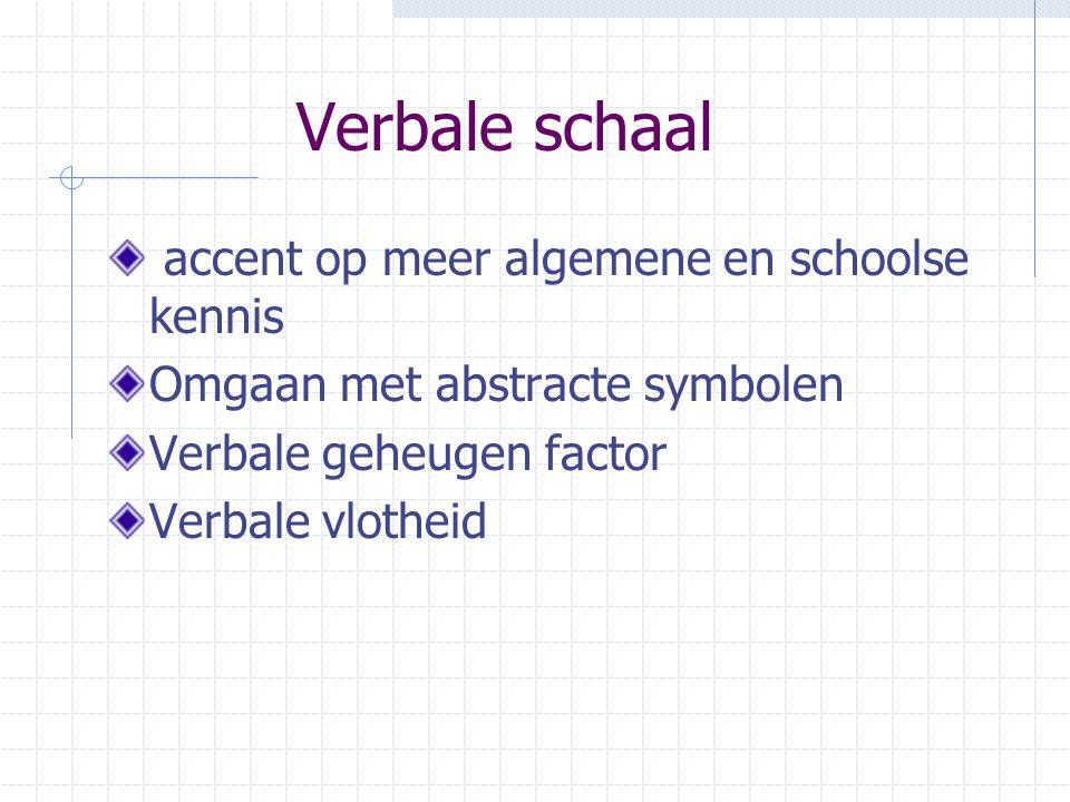 Verbale schaal accent op meer algemene en schoolse kennis