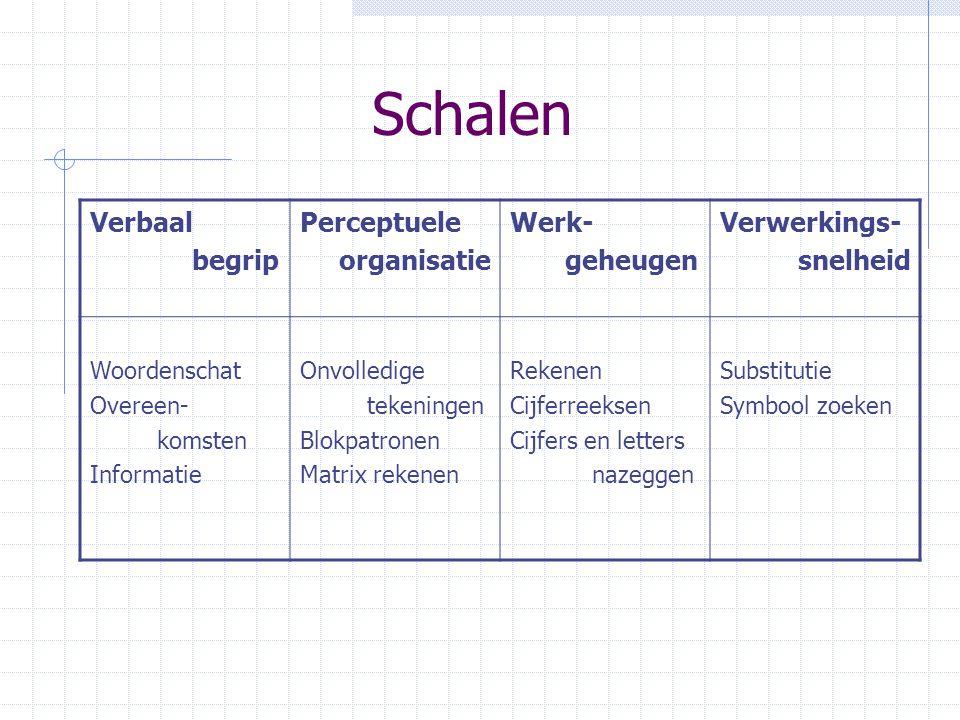 Schalen Verbaal begrip Perceptuele organisatie Werk- geheugen