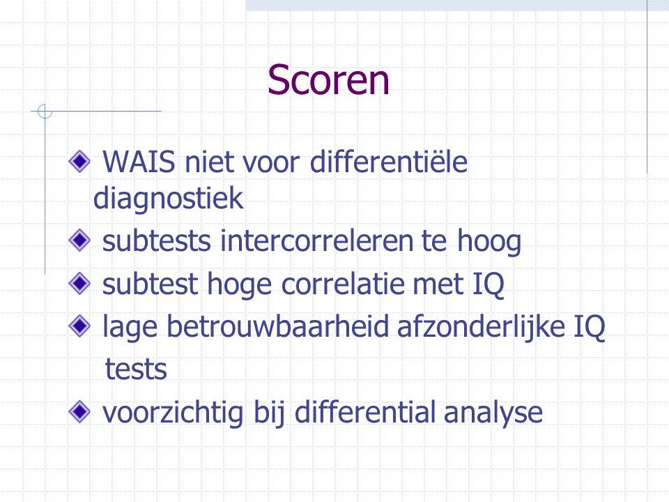 Scoren WAIS niet voor differentiële diagnostiek