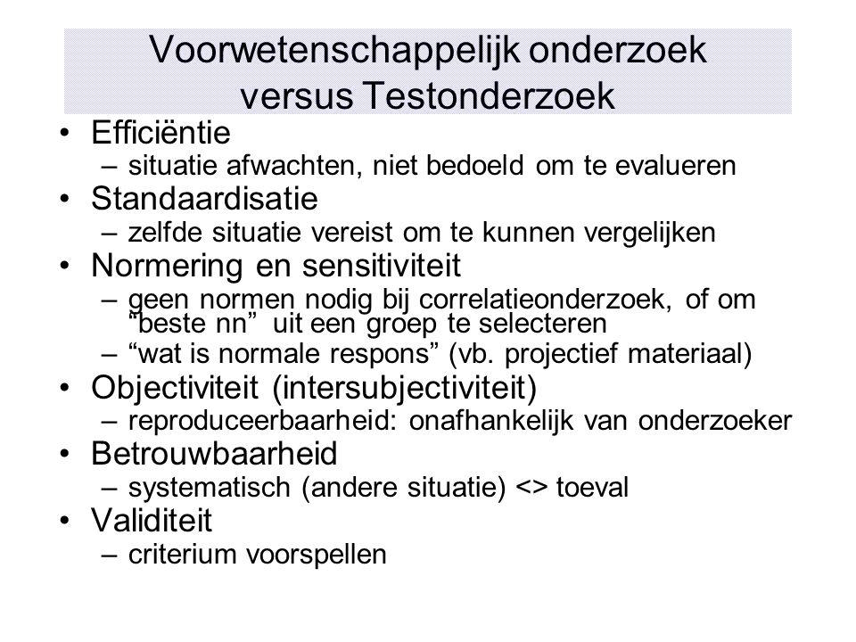 Voorwetenschappelijk onderzoek versus Testonderzoek
