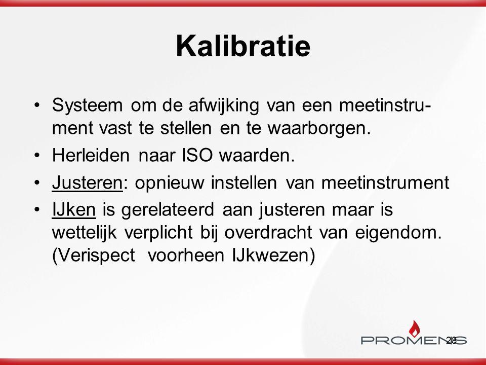 Kalibratie Systeem om de afwijking van een meetinstru-ment vast te stellen en te waarborgen. Herleiden naar ISO waarden.