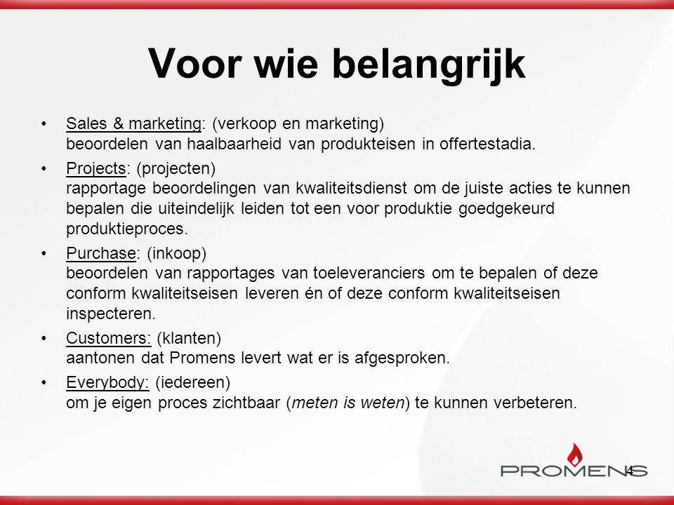 Voor wie belangrijk Sales & marketing: (verkoop en marketing) beoordelen van haalbaarheid van produkteisen in offertestadia.