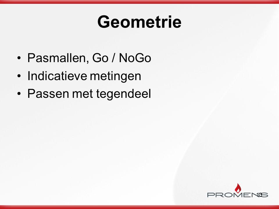 Geometrie Pasmallen, Go / NoGo Indicatieve metingen
