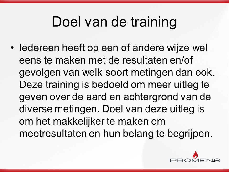 Doel van de training
