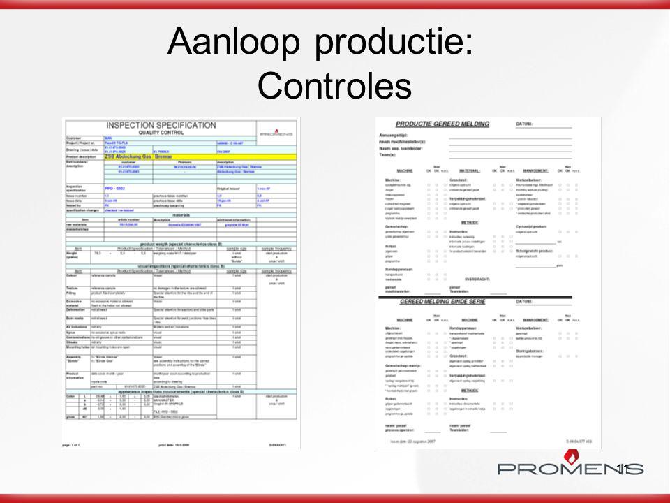 Aanloop productie: Controles