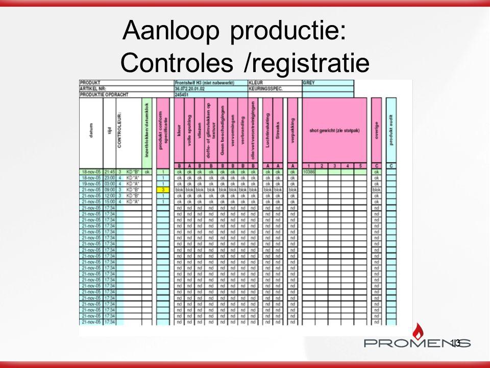 Aanloop productie: Controles /registratie
