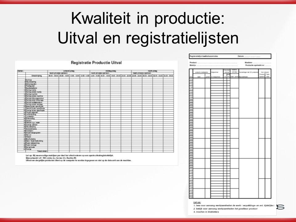 Kwaliteit in productie: Uitval en registratielijsten